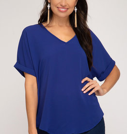 - Royal Blue Drop Shoulder Woven Top