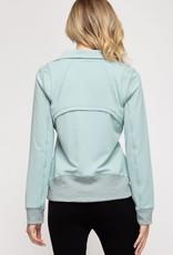 - Seafoam Zip-Up Athletic Jacket w/Pockets