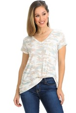 - Pastel Camo Short Sleeve V-Neck Top w/Pocket