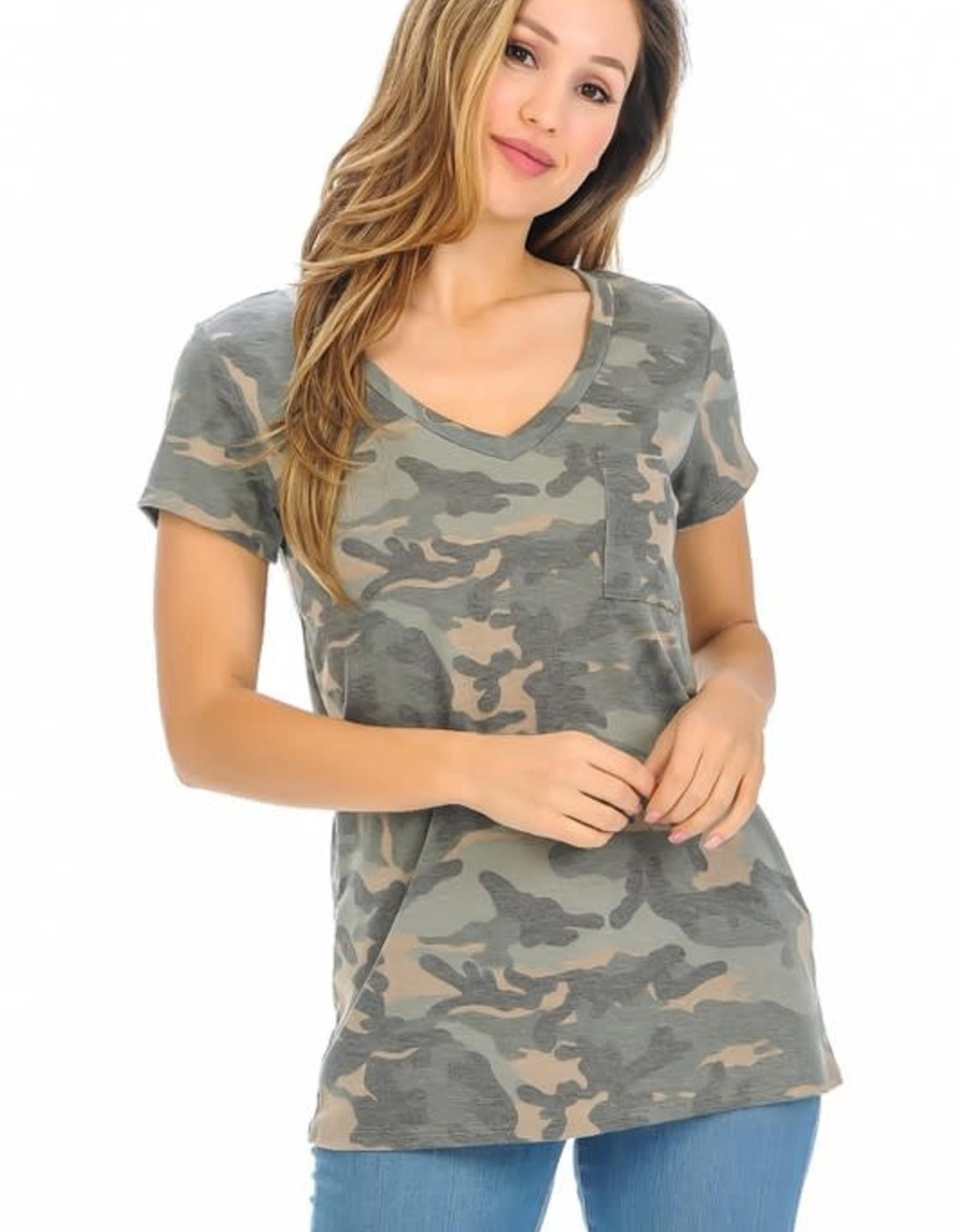- Army Green Camo Short Sleeve V-Neck Top w/Pocket