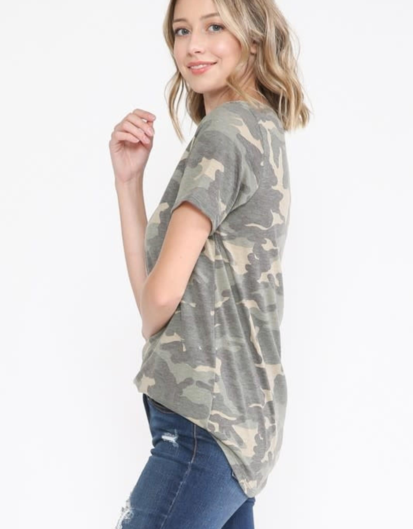 - Army Green Camo Short Sleeve V-Neck Top w/Criss Cross