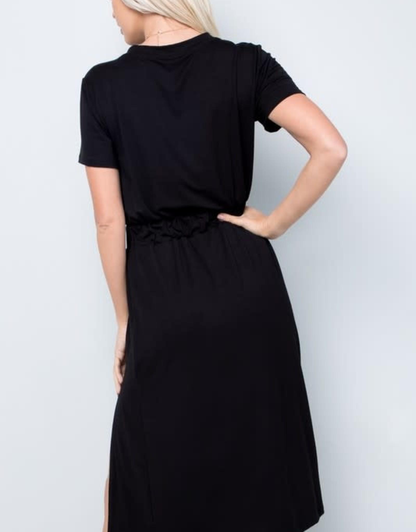 - Black Short Sleeve Midi Dress w/Slit