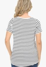 - Ivory/Black Stripe Top w/Criss Cross Neck