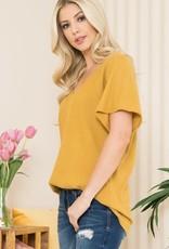 - Mustard Waffle Knit Short Sleeve Top