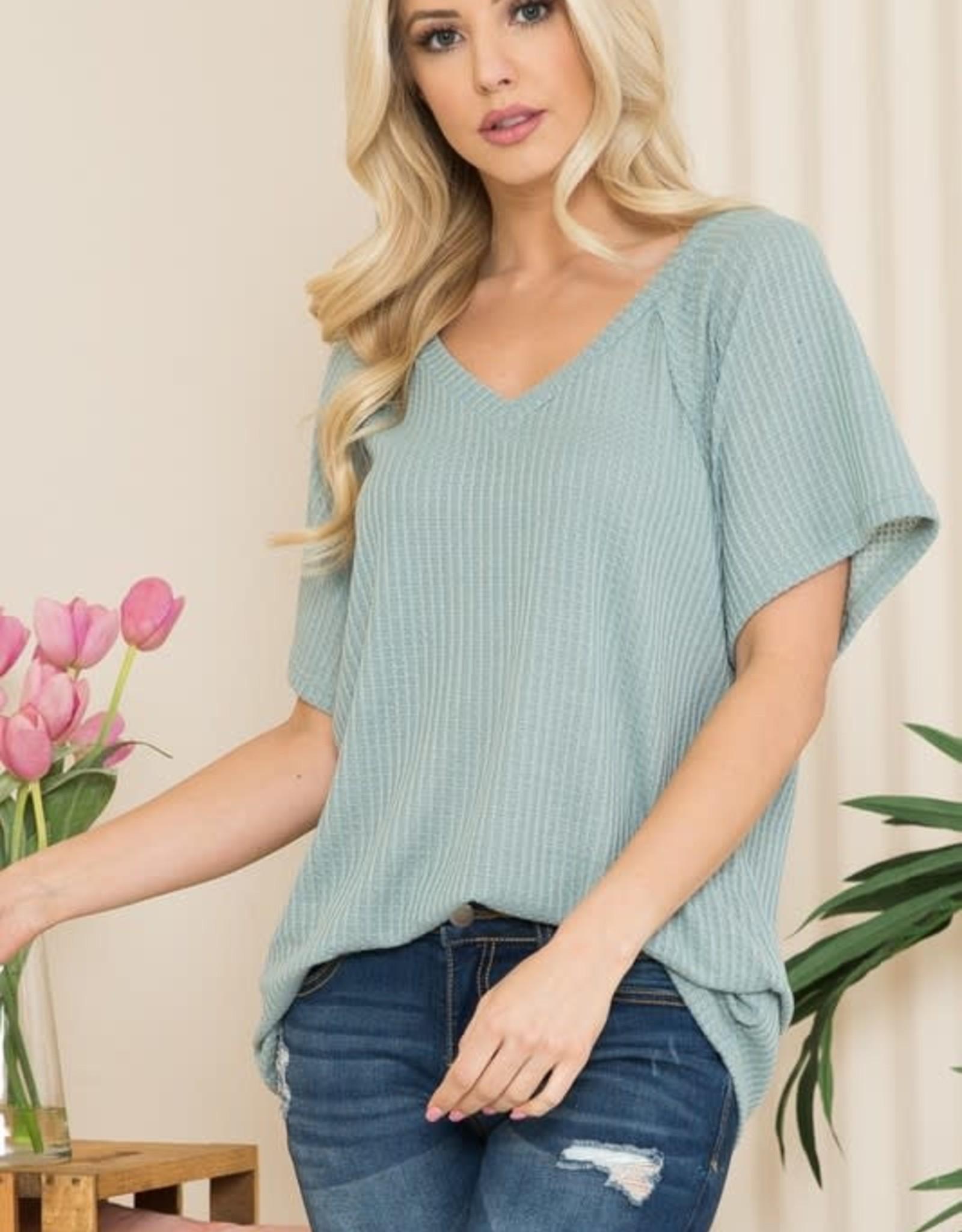 - Sage Waffle Knit Short Sleeve Top