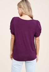 - Dark Berry Twisted Short Sleeve Top