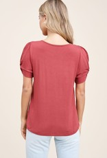 - Marsala Twisted Short Sleeve Top