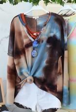 - Mocha/Teal Tie-Dye Long Sleeve Thermal Top