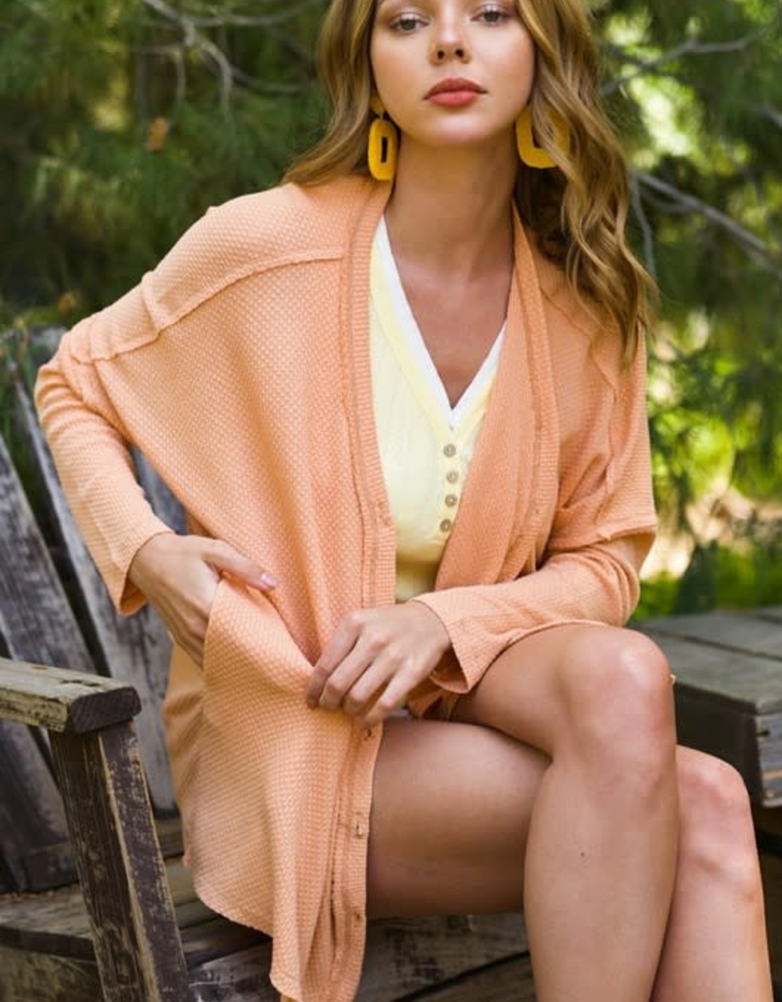 - Peach  Waffle Knit Cardigan w/Button Front