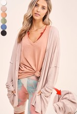 - Sand Waffle Knit Cardigan w/Button Front