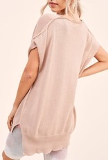 - Rose Short Dolman Sleeve Sweater Top w/Button Detail