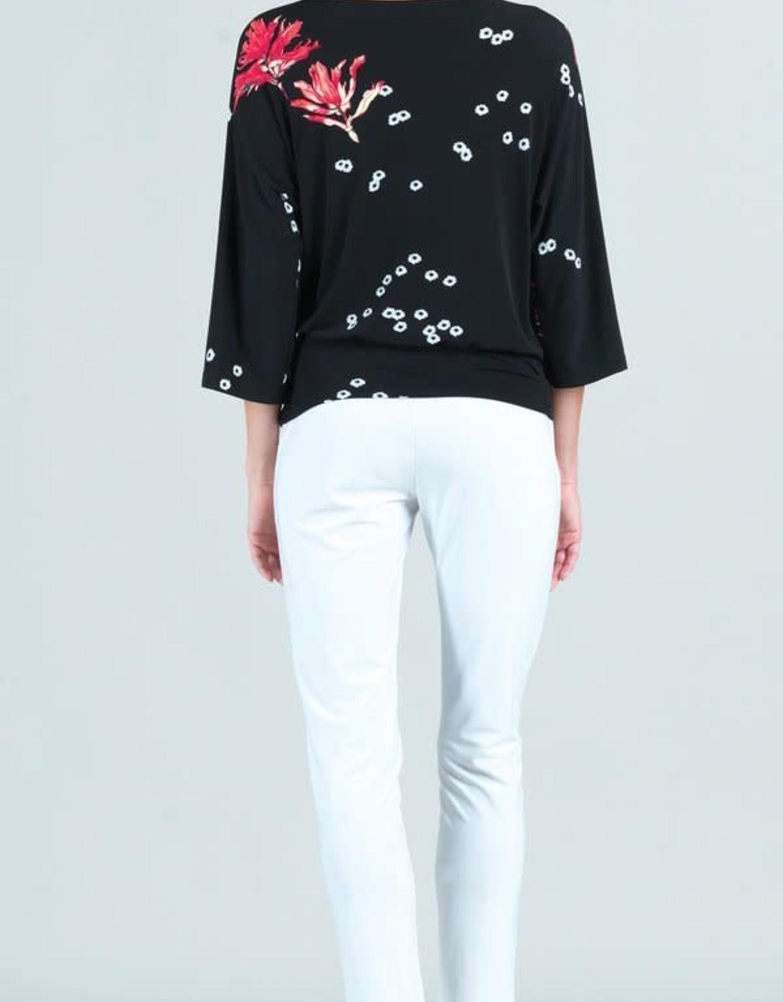 - Black Floral Flake Print 3/4 Sleeve Top w/Side Tie