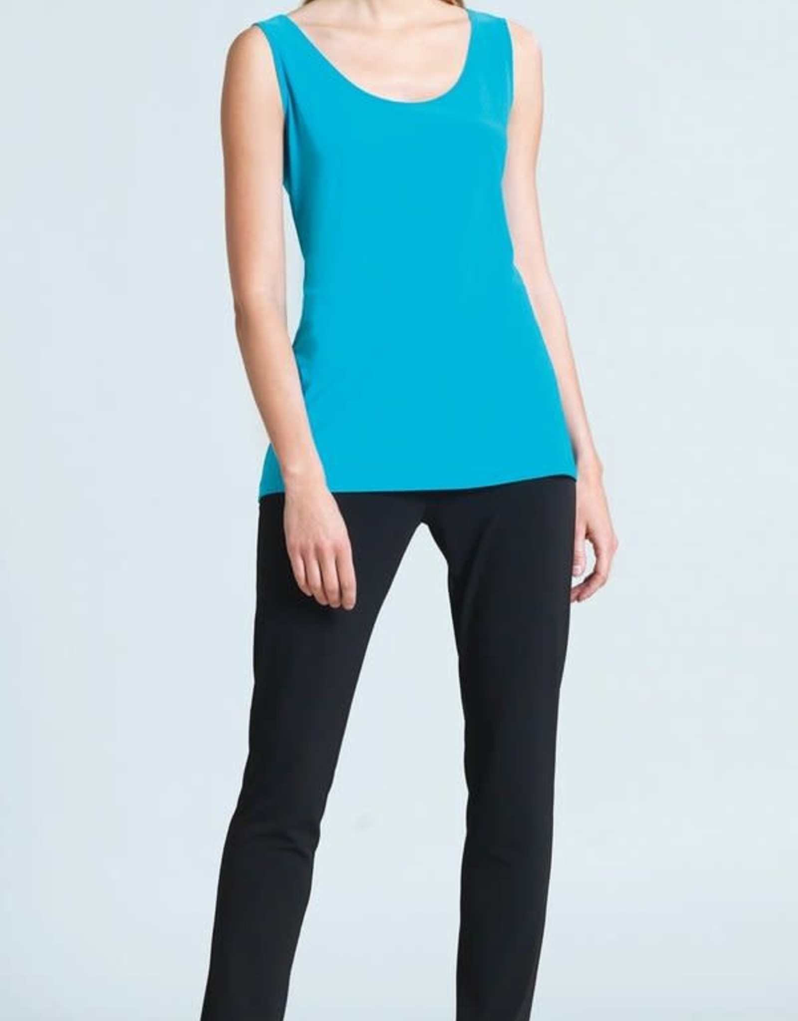 - Turquoise Mid-Length Scoop Neck Tank