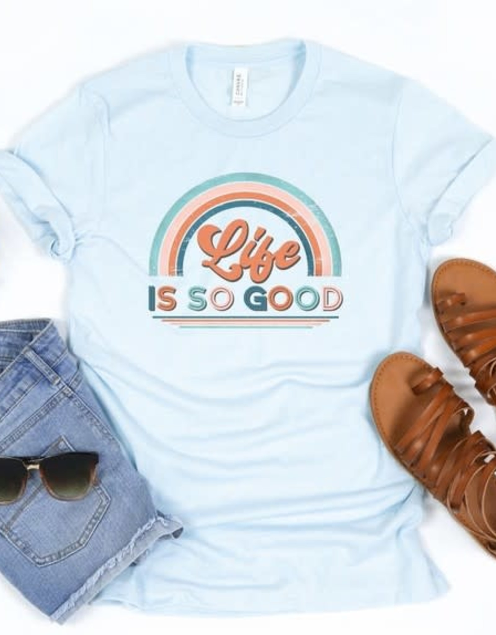 """- Light Blue """"Life is Good"""" Graphic Tee"""