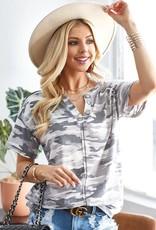 - White/Grey Camo Short Sleeve Top w/Button Detail