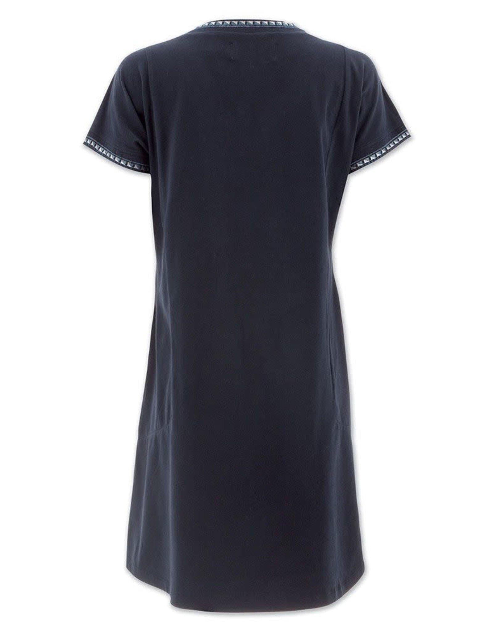- Black Short Sleeve Dress w/Embroidered Trim