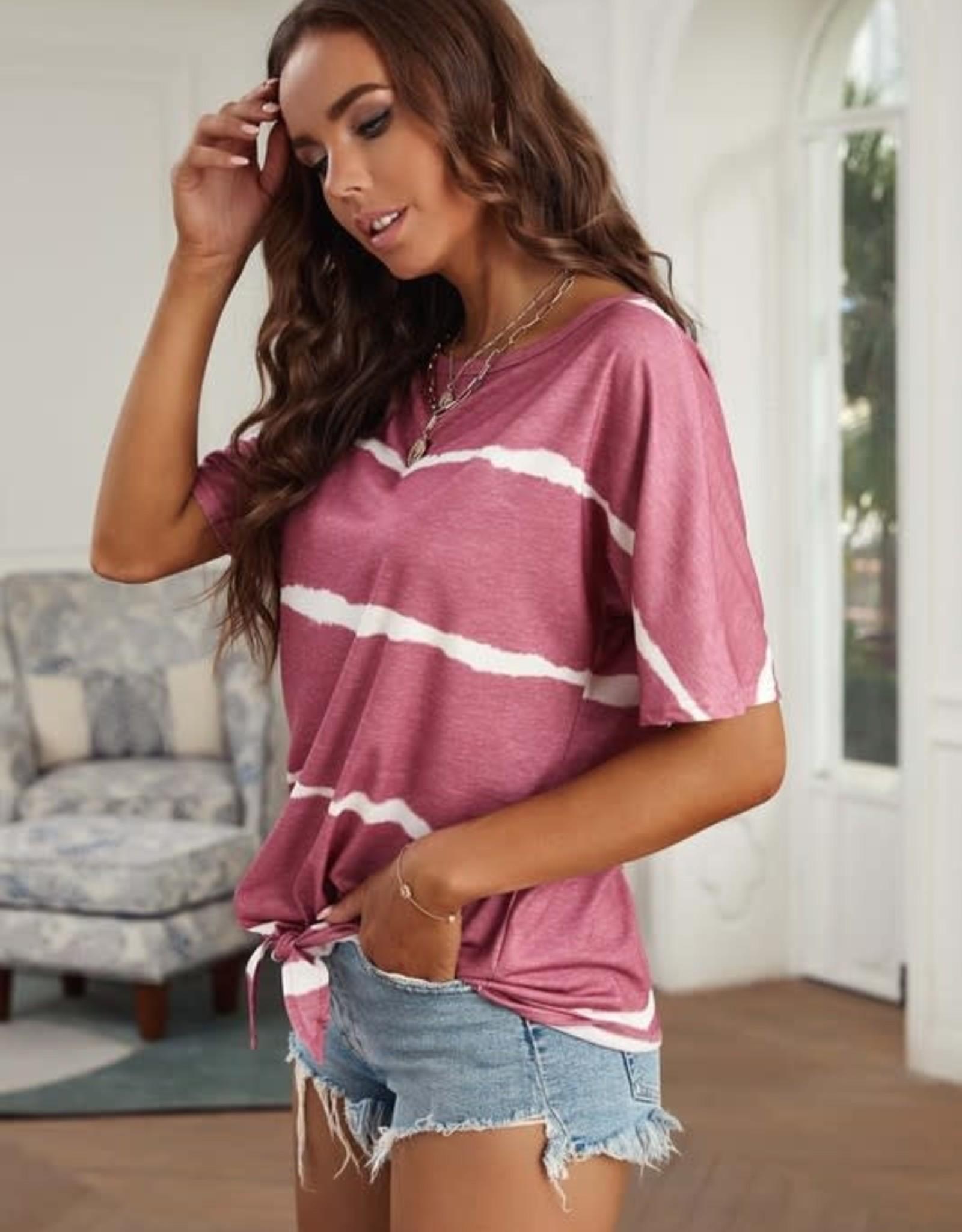 - Fuchsia Tie-Dye Short Sleeve Top w/Tie Front