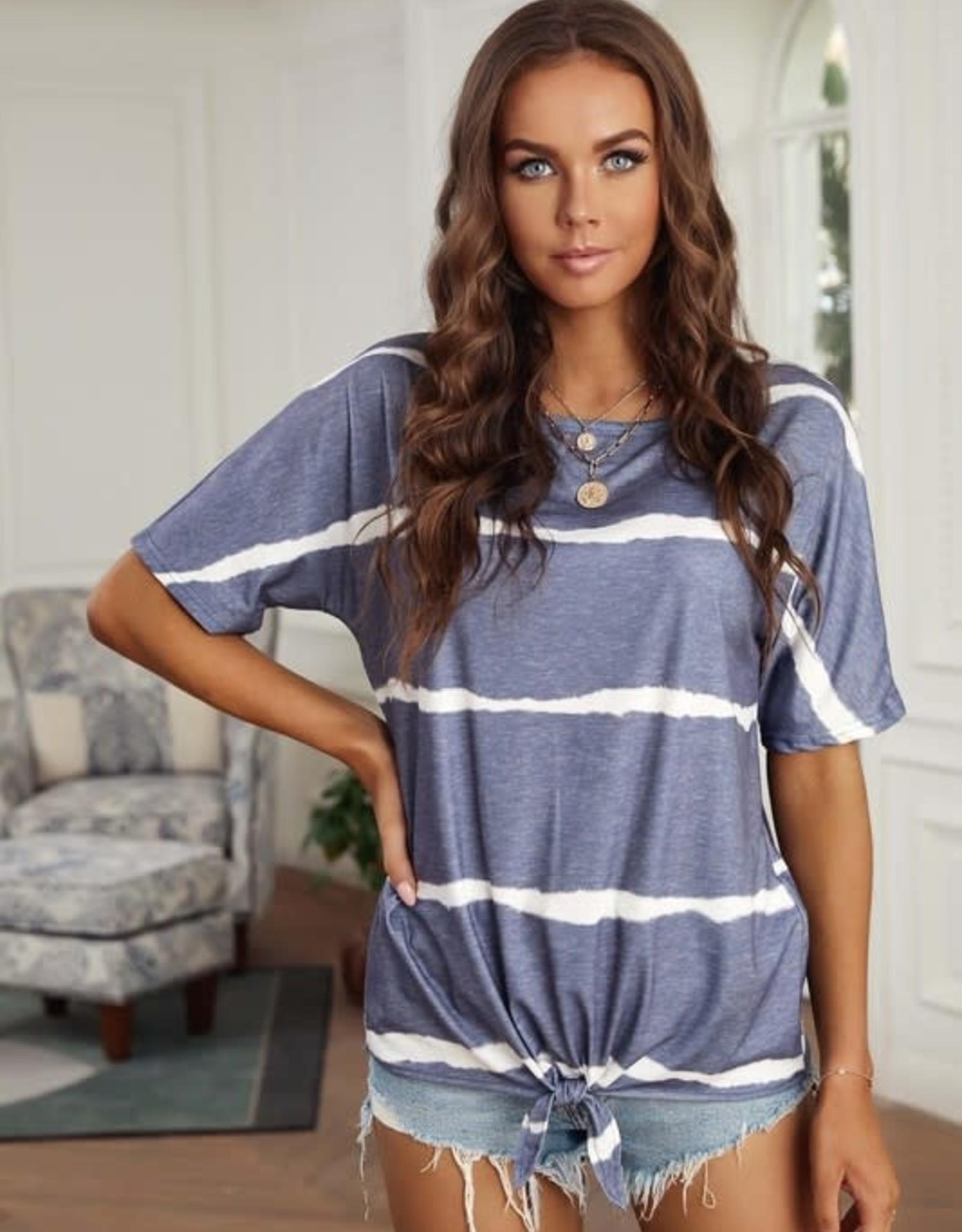 - Blue Tie-Dye Short Sleeve Top w/Tie Front