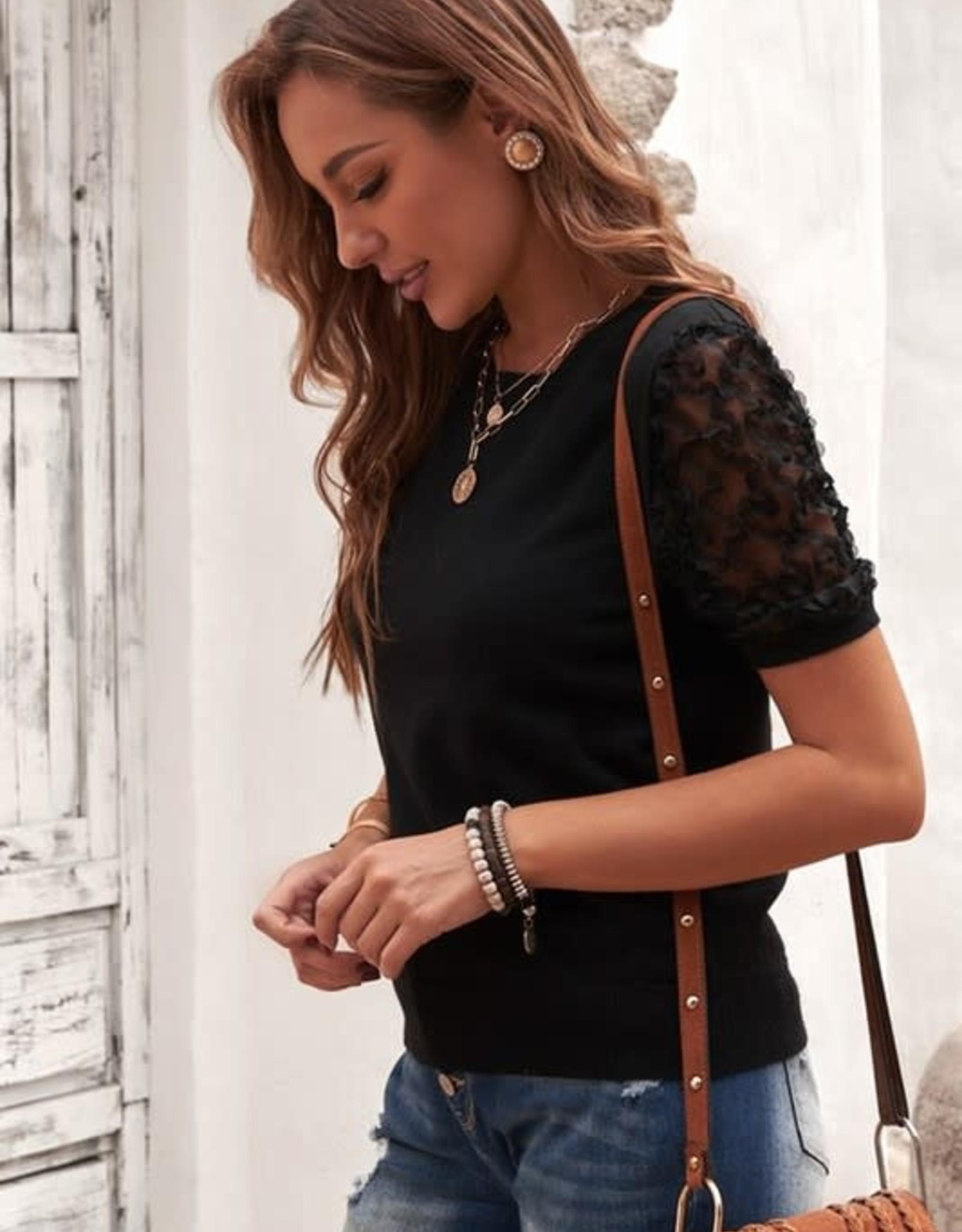 - Black Sheer Sleeve Short Sleeve Top