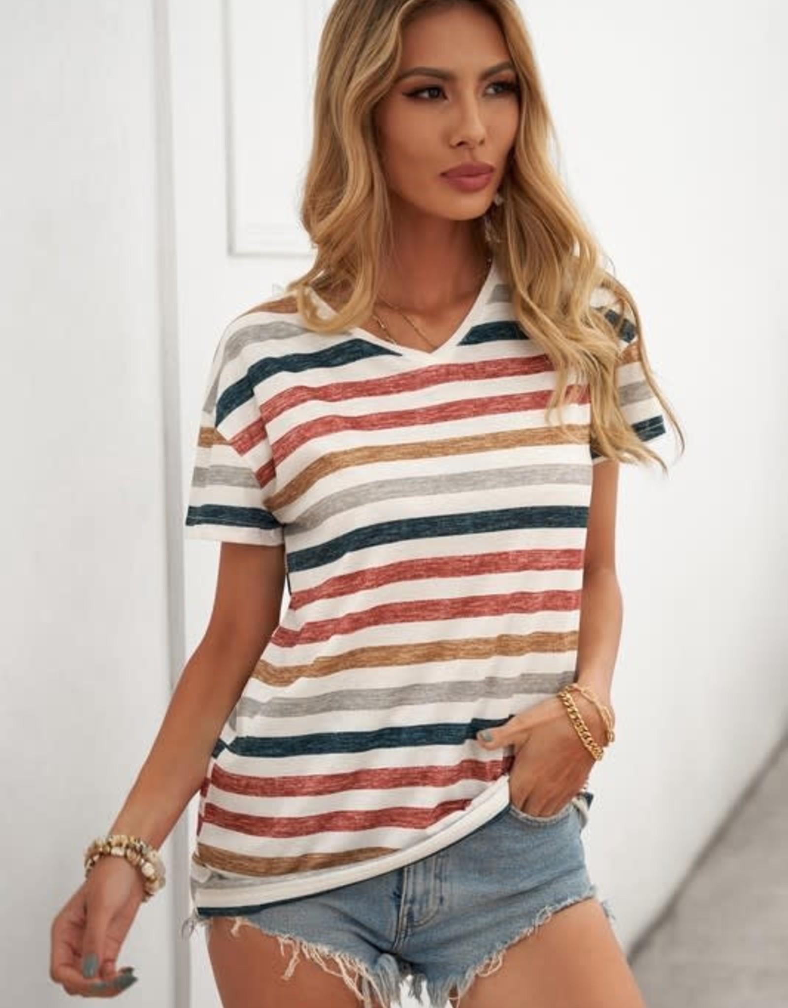 - Multi Color Stripe V-Neck Short Sleeve Top
