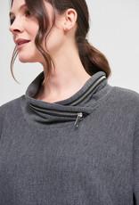 Joseph Ribkoff Charcoal Knit 3/4 Sleeve Top w/Zipper Collar