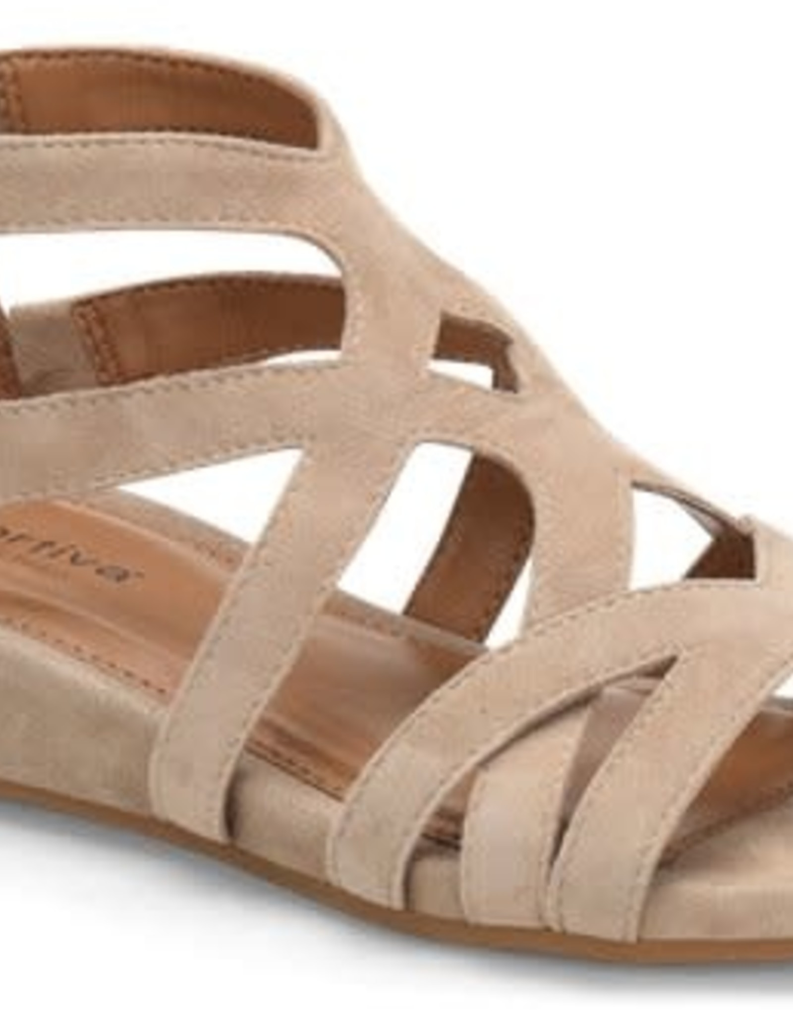 Comfortiva Taupe Suede Strappy Sandal w/Back Zipper
