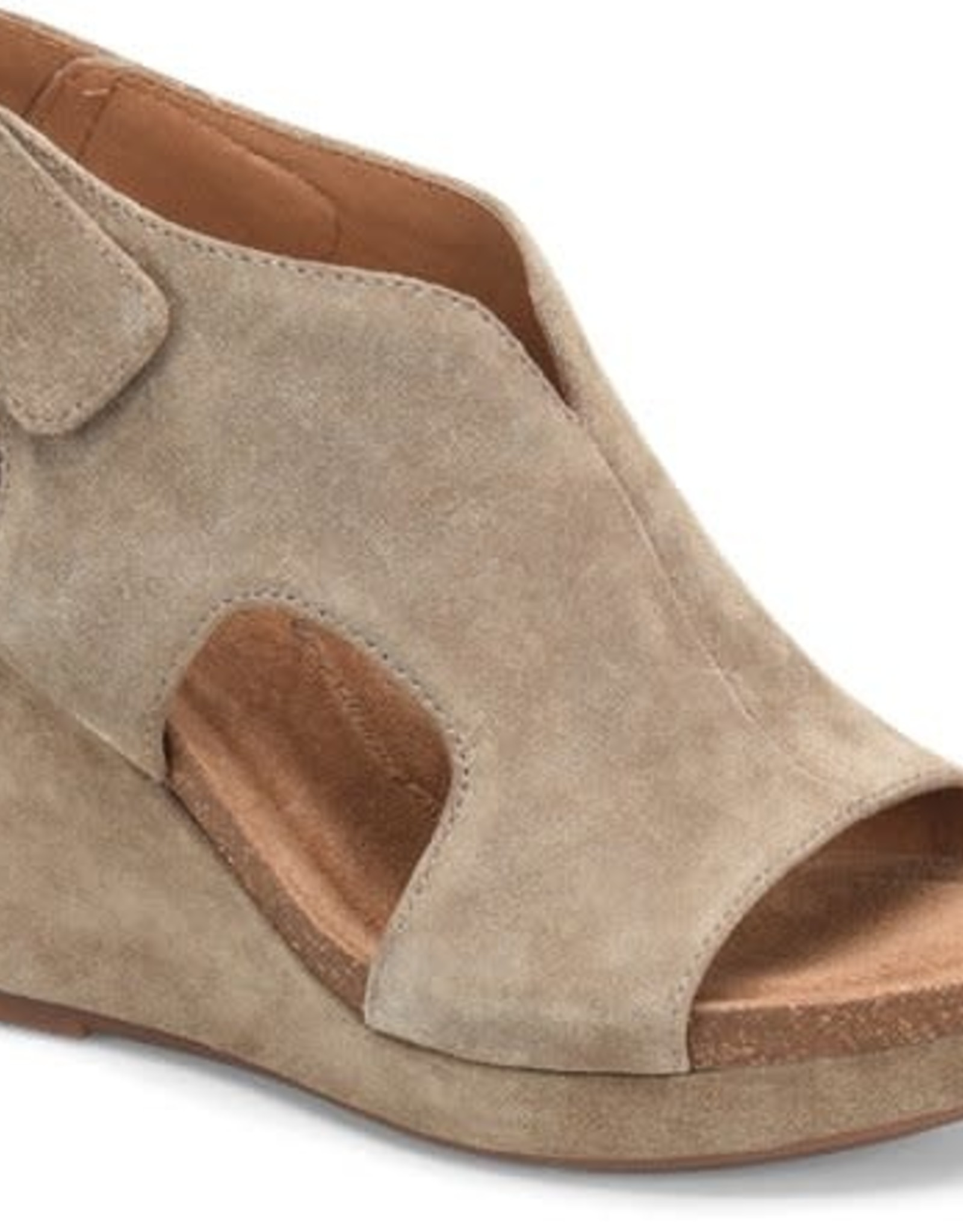 Sofft Light Taupe Suede Wedge w/Velcro Strap
