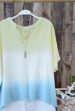 - Yellow/Blue Ombre Gauze Short Sleeve Top