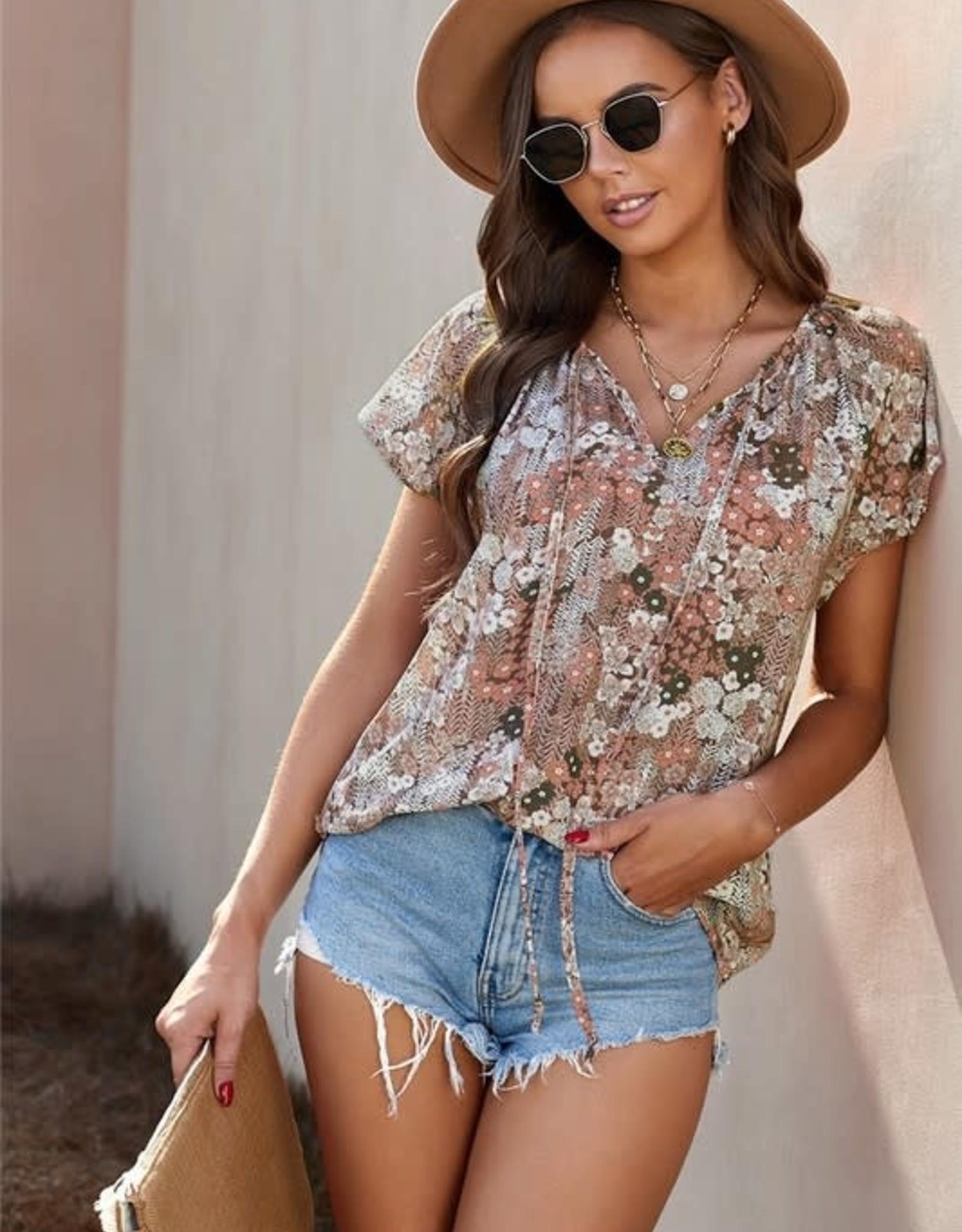 - Beige Floral Print Blouse w/ Flutter Sleeve