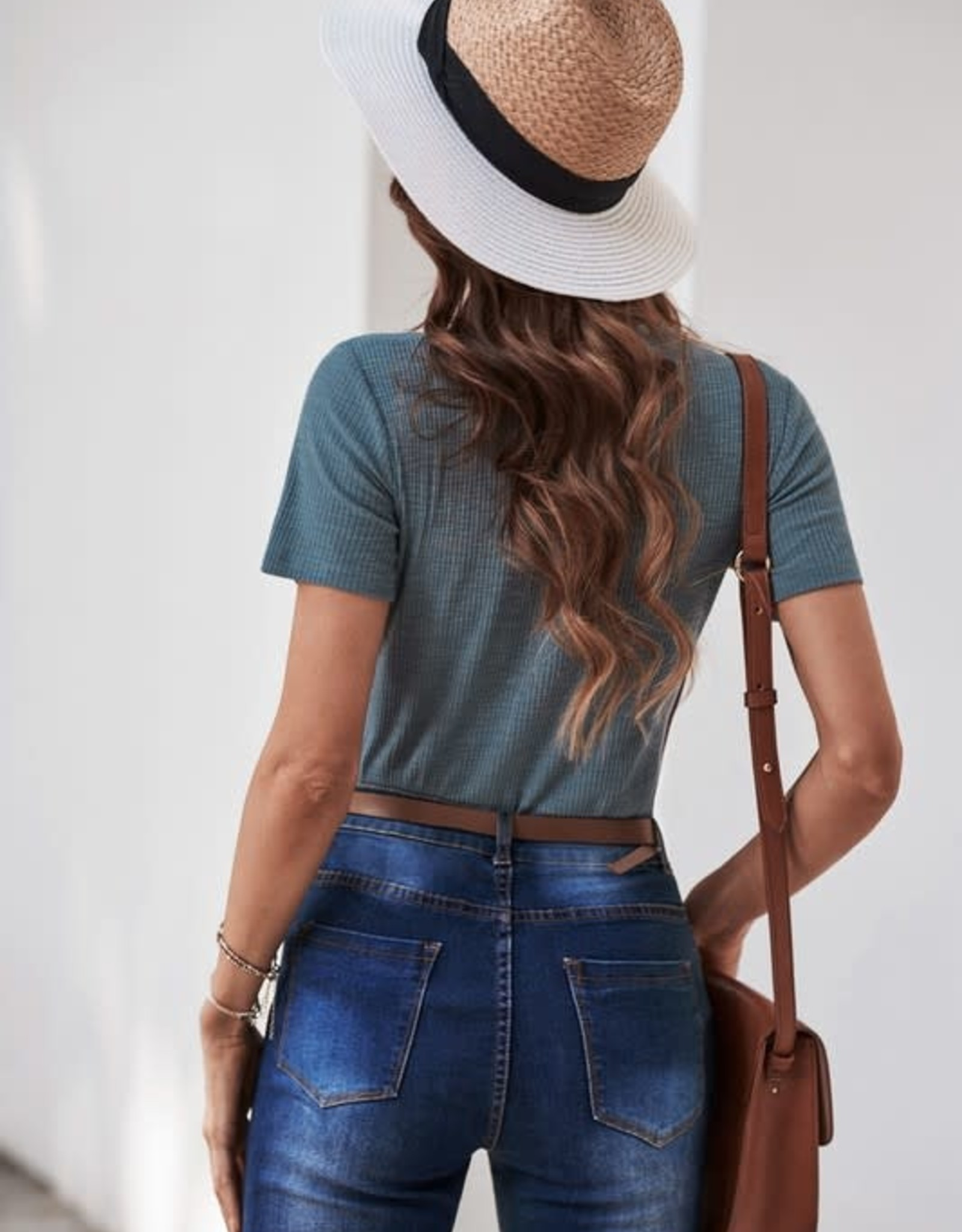 - Blue Ribbed & Button Neck Short Sleeve Top