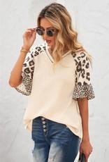 - Mixed Leopard Ruffle Sleeve Waffle Knit Top