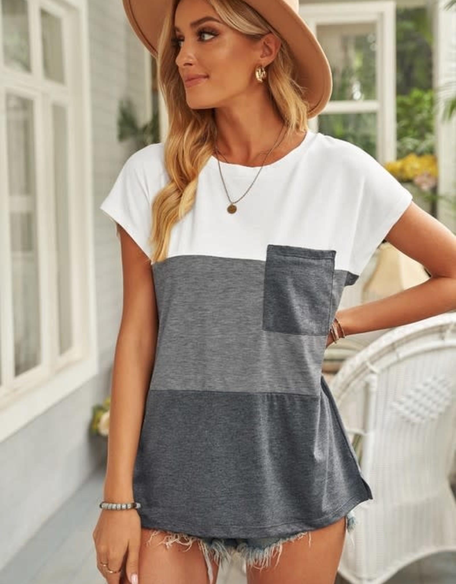 - Grey Colorblock Short Sleeve Top w/Pocket