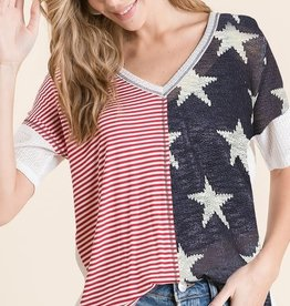 - Red, White, Blue Stars and Stripes Waffle Knit