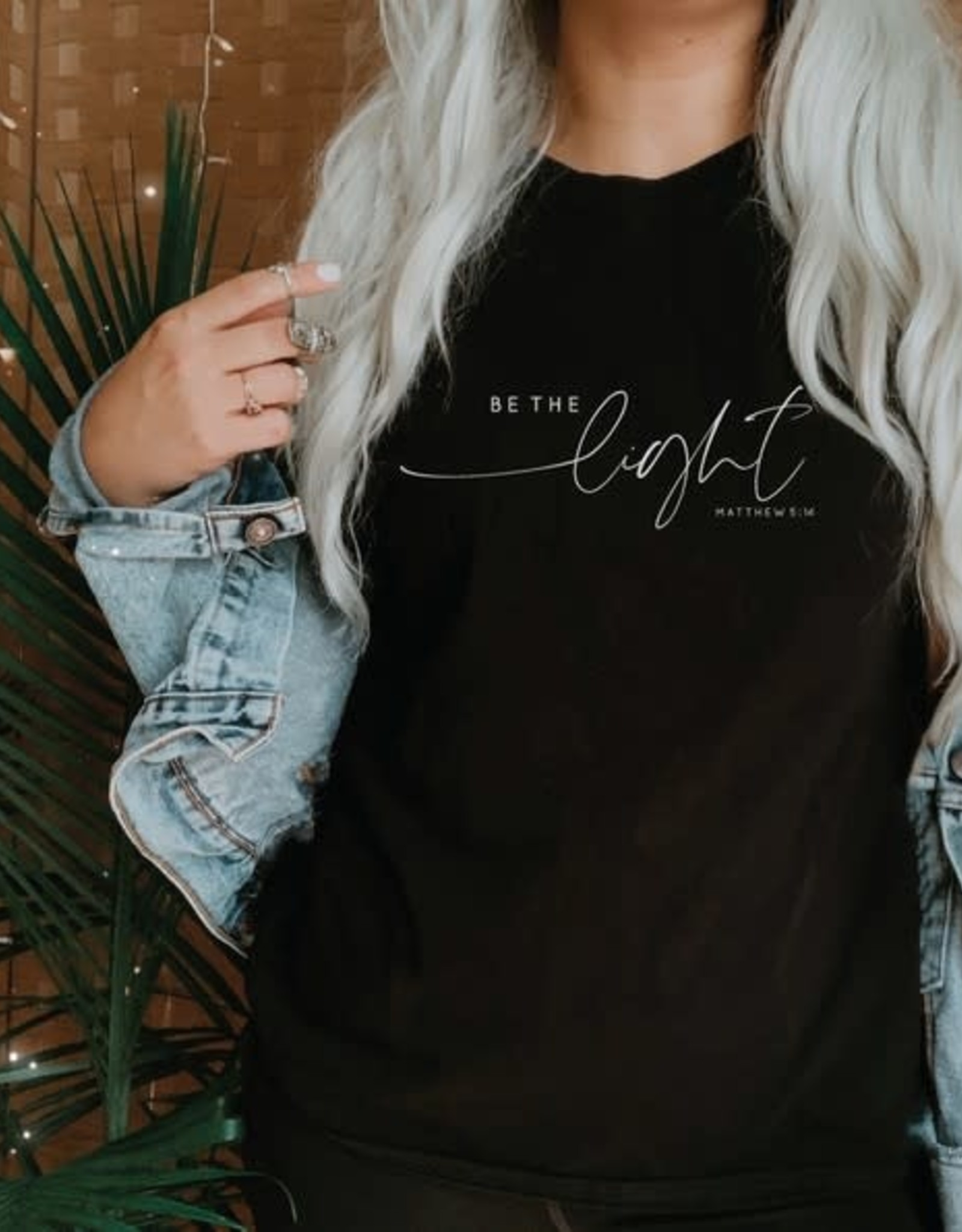 """- Black """"Be The Light"""" Graphic Tee"""