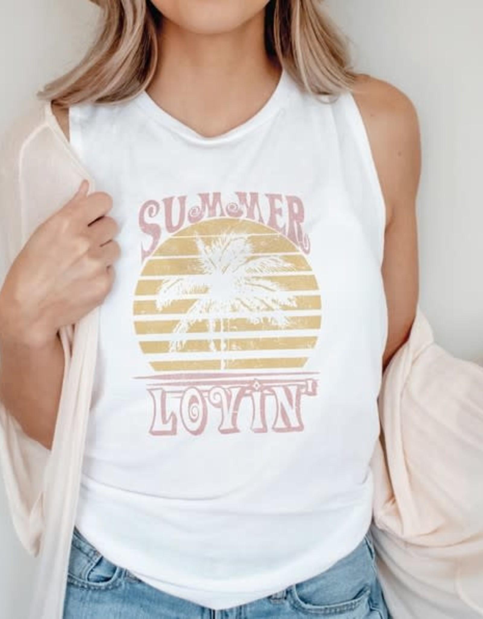 """- White """"Summer Lovin'"""" Graphic Tank"""