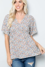 - Sage Floral Print Short Sleeve Top w/Front Cross