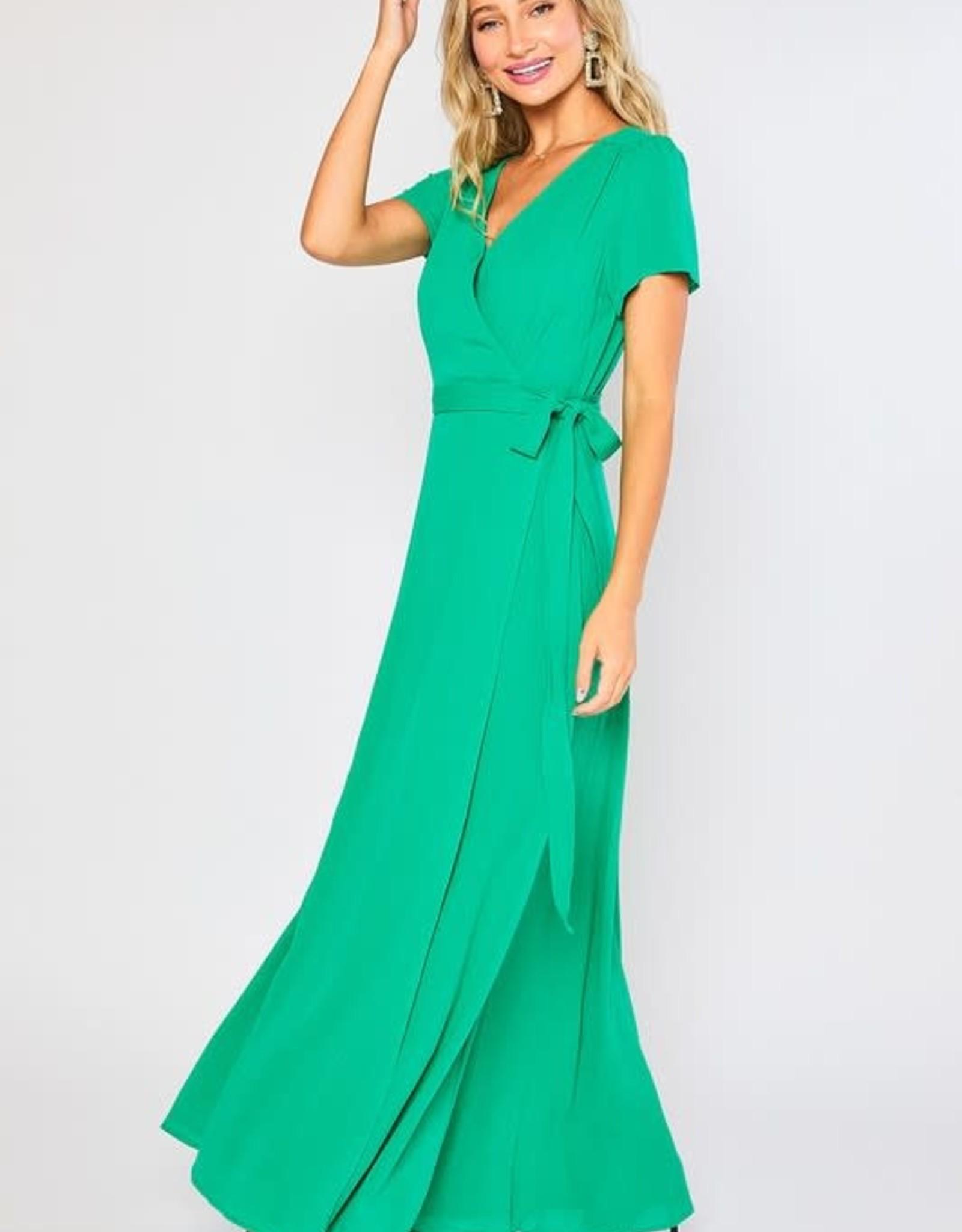 - Emerald Flowy Maxi Wrap Dress