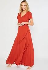 - Rust Flowy Maxi Wrap Dress