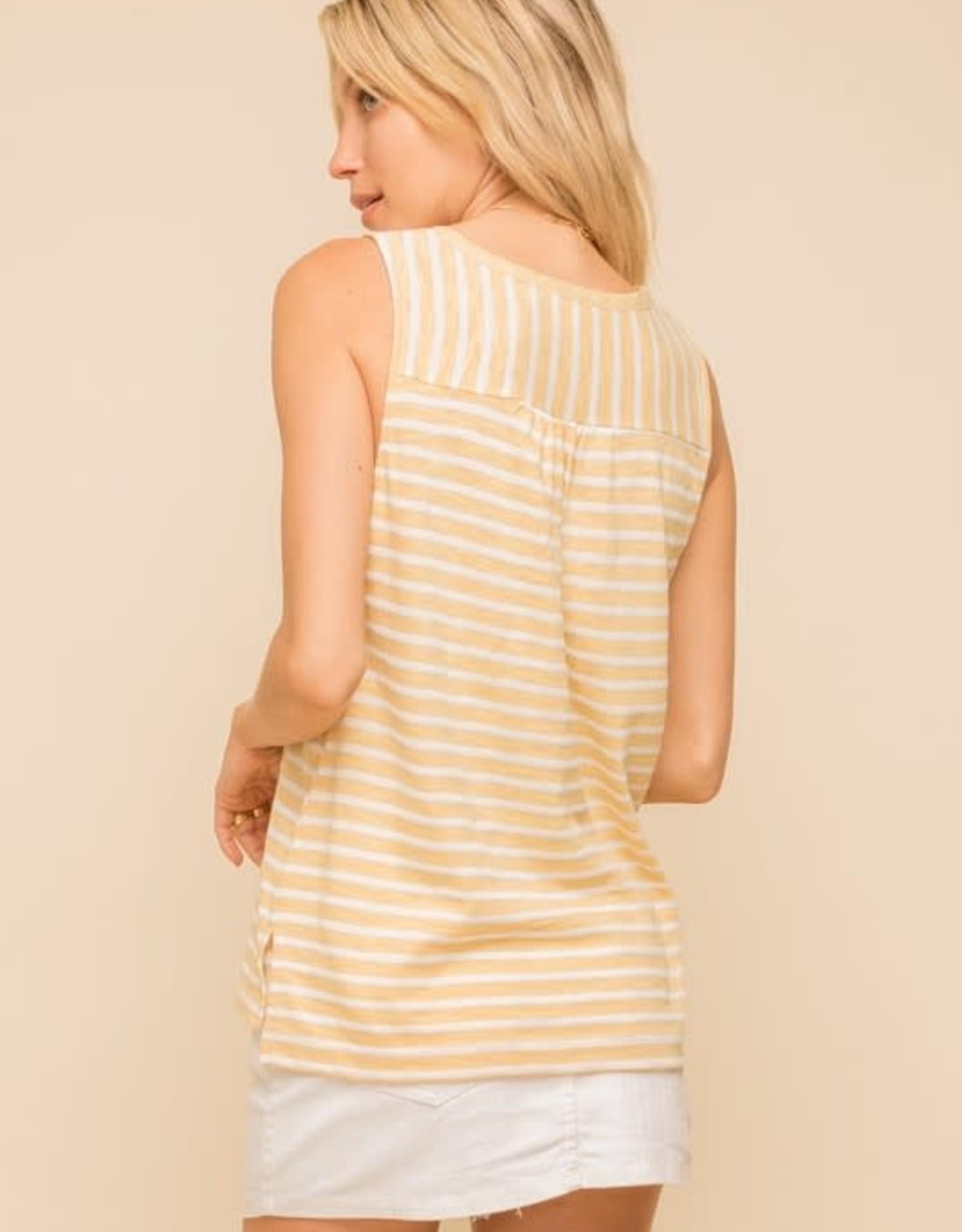 - Mustard/White Striped Tank w/V-Neck