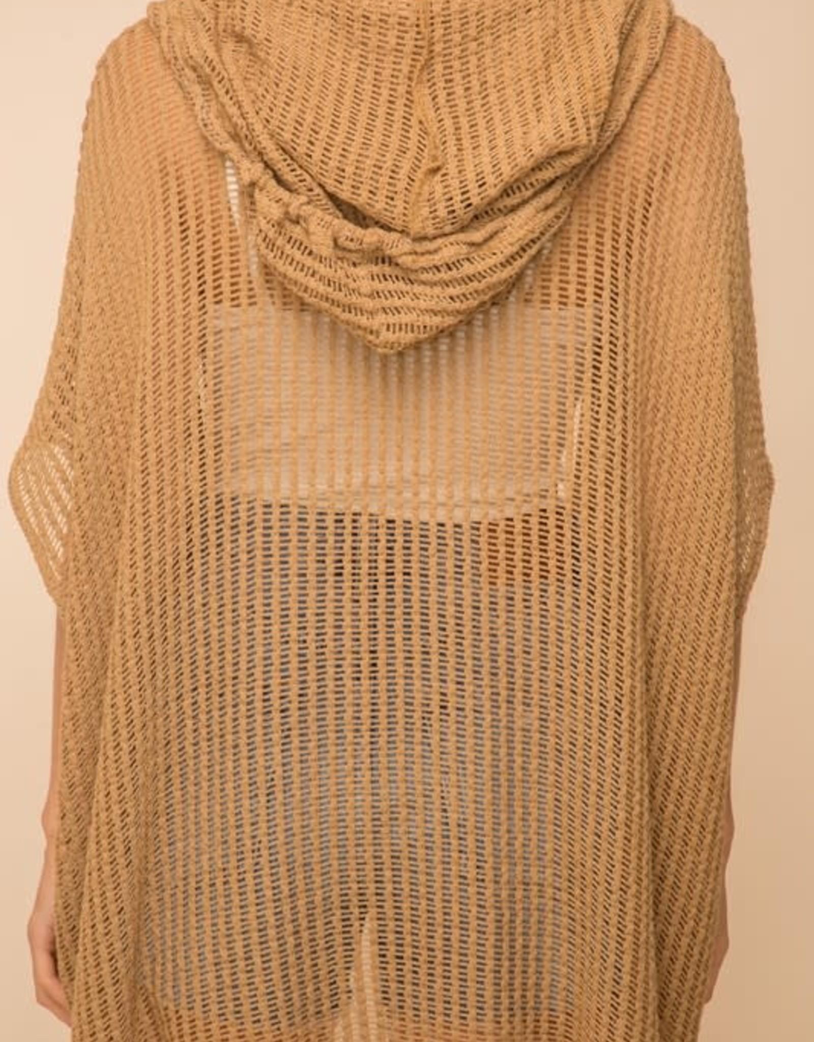 - Cappuccino Open Crochet Hooded Kimono