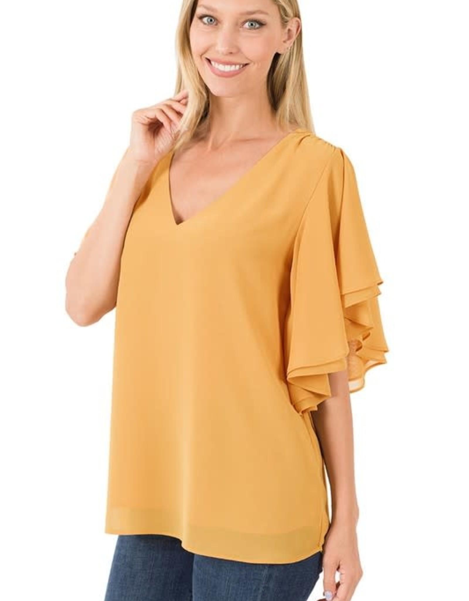 - Light Mustard Double Chiffon Top w/Flowy Sleeve