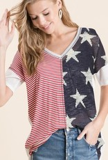 - Red, White, Blue Stars and Stripes Waffle Knit w/Bigger Stars