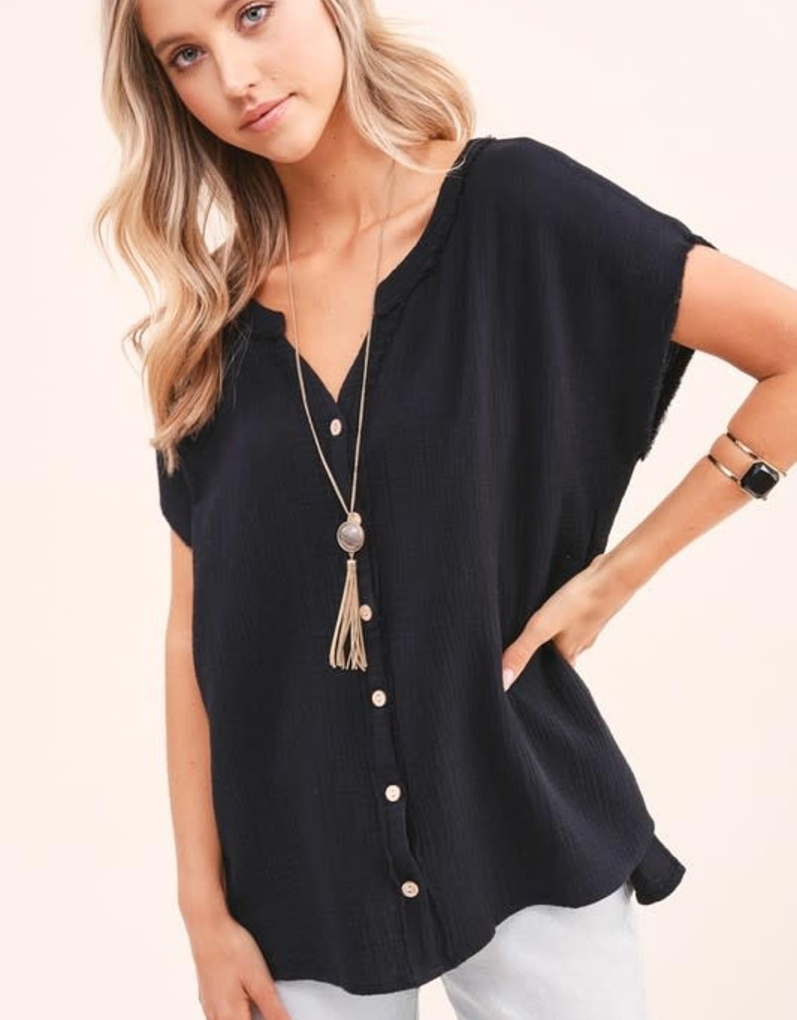 - Black Gauze Short Sleeve Top w/Button Front