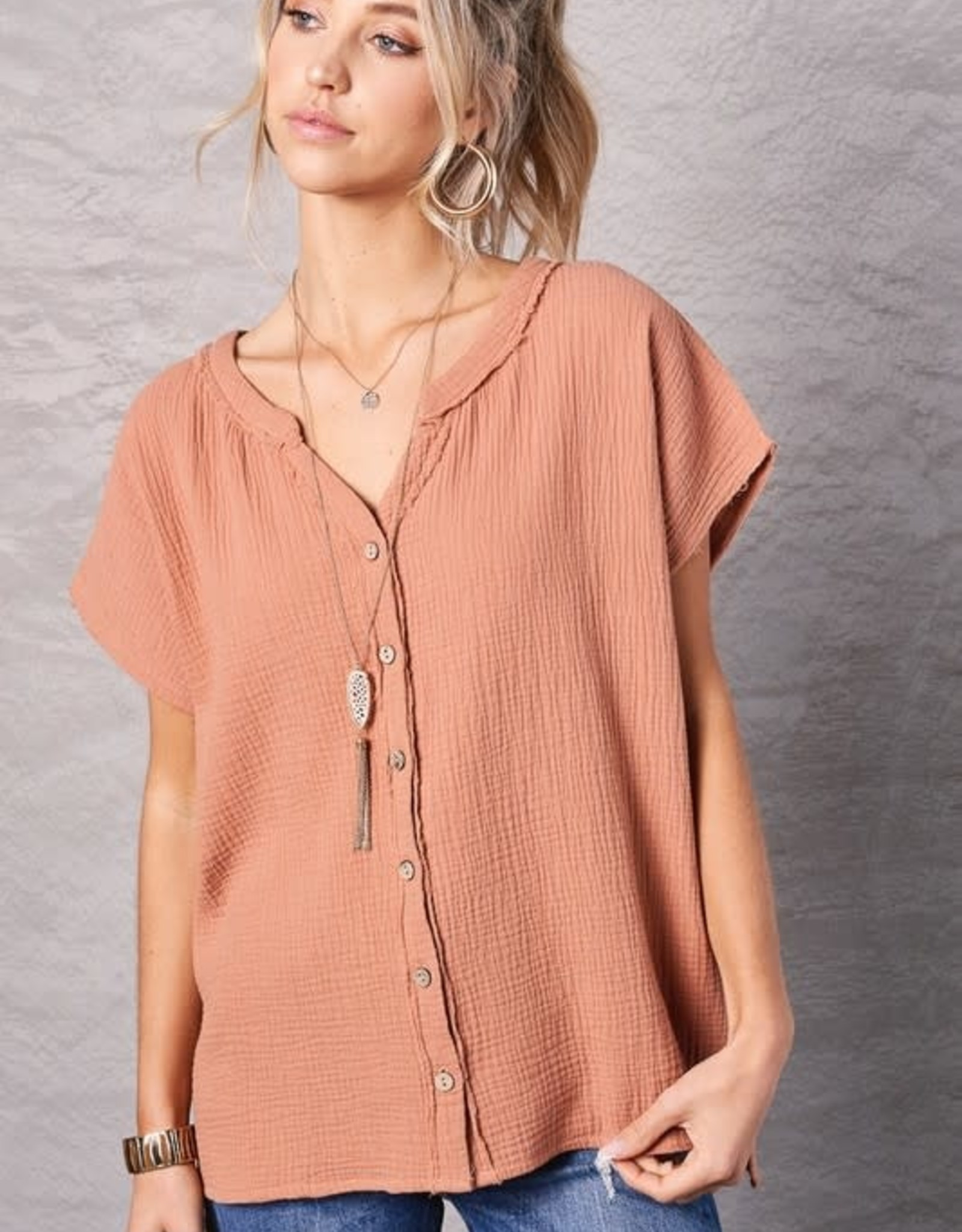 - Ginger Gauze Short Sleeve Top w/Button Front