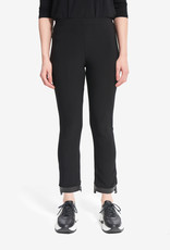 Joseph Ribkoff Black Pull-On Pant w/Faux Leather Ankle Detail