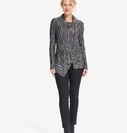 Joseph Ribkoff Grey/Black Print Cowl Neck Tunic w/Zipper Detail