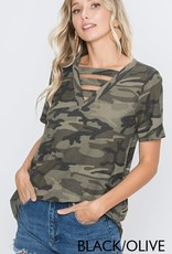 - Green Camo Short Sleeve Top w/Strappy Neck