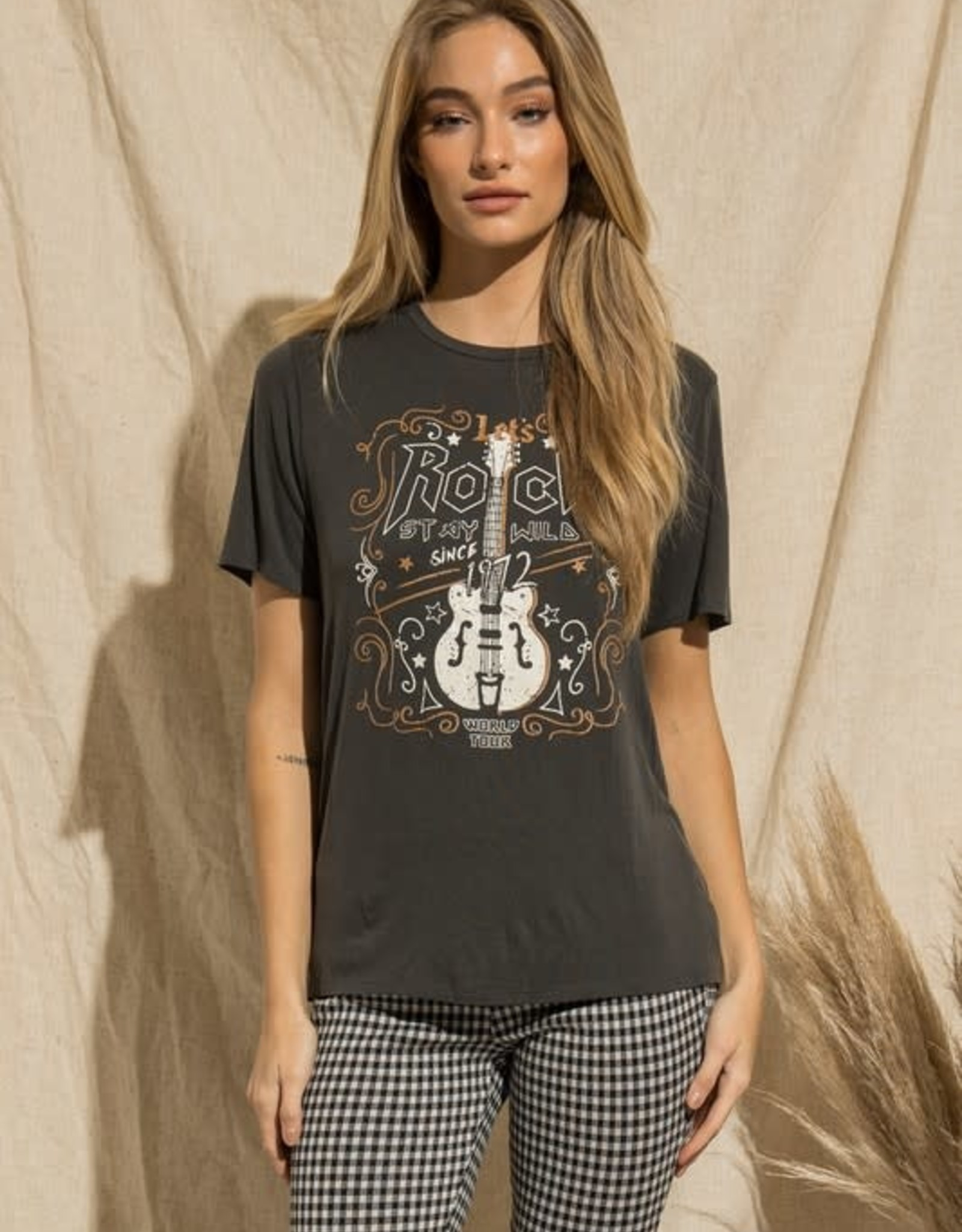 """- Charcoal """"Let's Rock"""" Graphic Tee"""