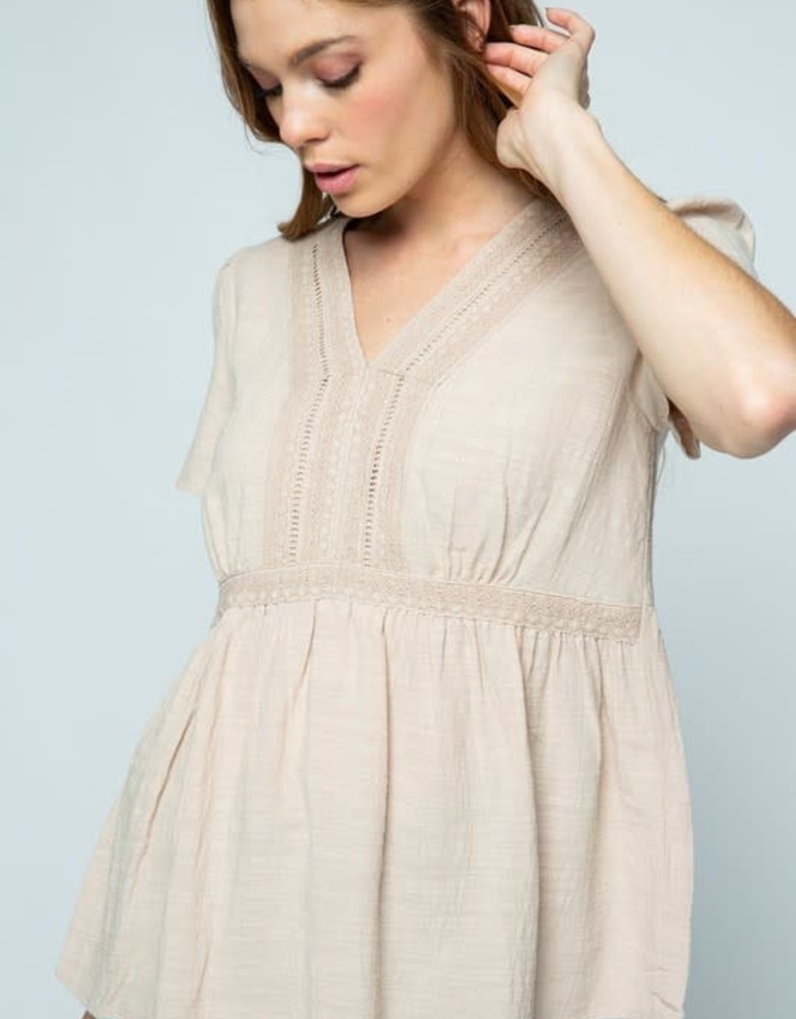 - Taupe Babydoll Short Sleeve Top w/CrochetDetail