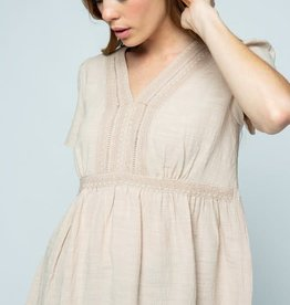 - Taupe Babydoll Short Sleeve Top w/Crochet Detail